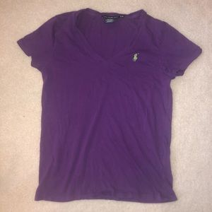 Polo Ralph Lauren Purple V Neck Short Sleeve Tee